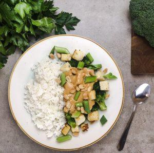 Produktbeispiel 'Brokkoli-Tofu Gemüse' für Mittagessensbestellung ins Büro